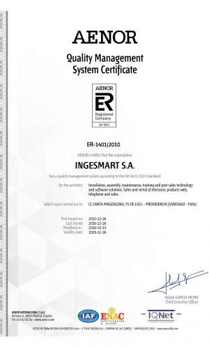 certificado ISO ingesmart